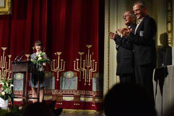 Theaterplastikerin Claudia Düsing (Förderpreisträgerin 2016), Prof. Dr. Claus Lambrecht und Dr. Martin Roeder.