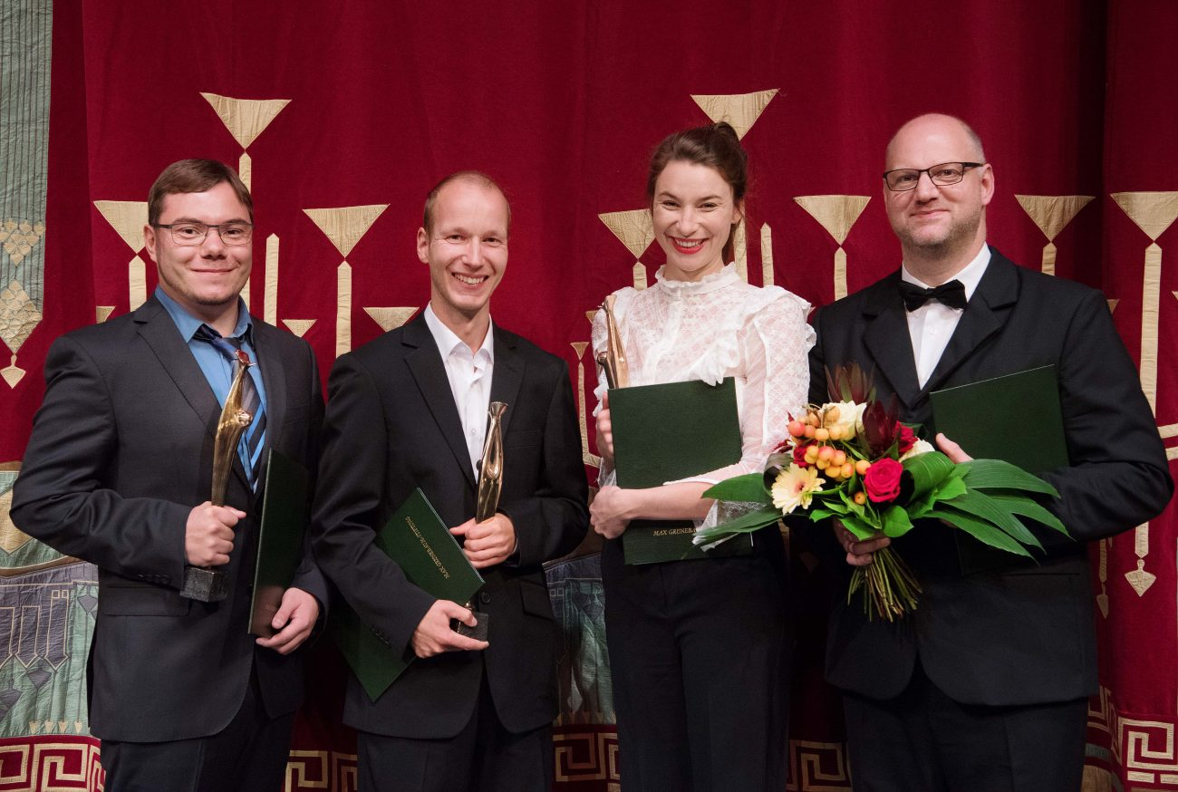 Die Preisträger der Max Grünebaum-Preisverleihung 2018 (v.l.n.r.):Dr.-Ing. Michael Hoff,Dr.-Ing. René Rietz, Lisa Schützenberger und Thorsten Coers.
